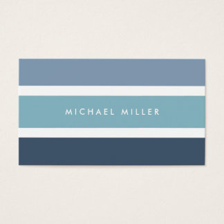 Blue nautical stripes modern smart masculine business card
