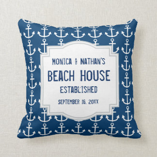 Blue Nautical Theme with Anchors A01 Throw Pillow