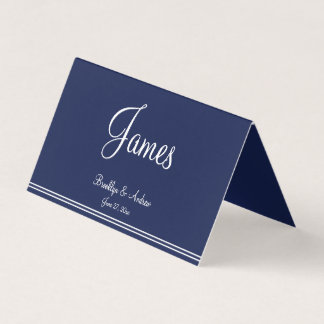 Blue Nautical Wedding Folded Table Seating Cards