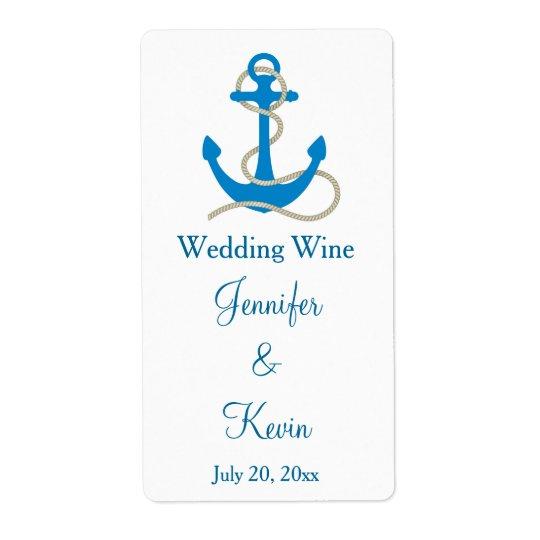 Blue Nautical Wedding Mini Wine Labels