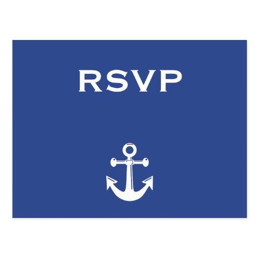 Blue Nautical Wedding RSVP Postcard