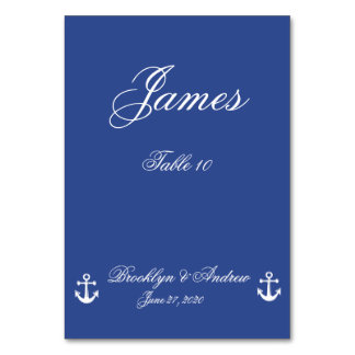 Blue Nautical Wedding Table Cards
