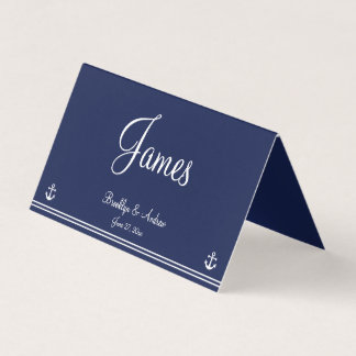 Blue Nautical Wedding Table Seating Cards Folded