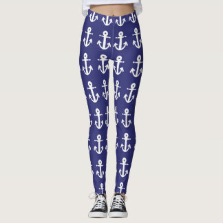 Blue Nautical with Anchors Leggings