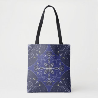 Blue Navy baroque style pattern Tote bag