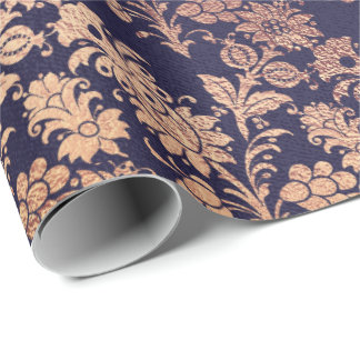 Blue Navy Royal Silver Rose Copper Powder Floral Wrapping Paper
