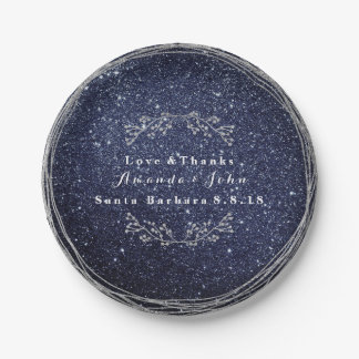 Blue Navy Silver Floral Wreath Wedding Glitter Paper Plate