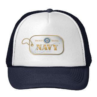 Blue Navy Sister Dog Tag Trucker Hat