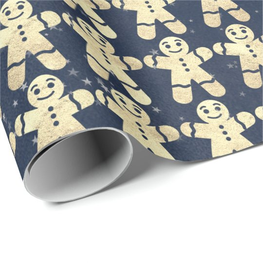 Blue Navy Stars Gold Christmas Ginger Bread Guy Wrapping Paper