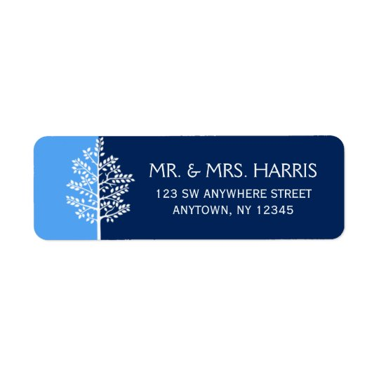 Blue Navy Tree of Life Bar Mitzvah Return Address Label