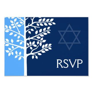 Blue Navy Tree of Life Bar Mitzvah RSVP Card
