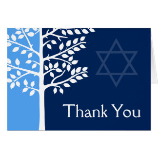 Blue Navy Tree of Life Bar Mitzvah Thank You Card