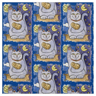 Blue Neko with Buddha on Gold Pillow Fabric