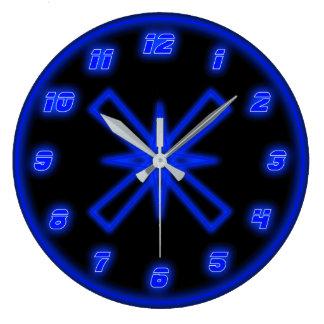 Blue Neon (Effect) Large Clock