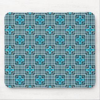 Blue neon flowers geometric pattern mouse pad