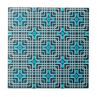 Blue neon flowers geometric pattern small square tile