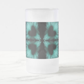 BLUE NEON HEARTS FROSTED GLASS MUG