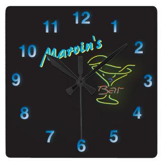 Blue Neon Sign Customizable Mancave Tavern Clock