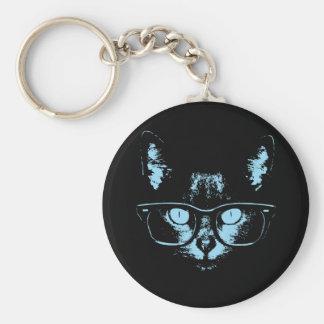 Blue Nerd Cat Basic Round Button Key Ring
