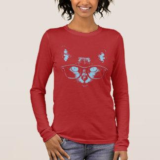 Blue Nerd Cat Long Sleeve T-Shirt