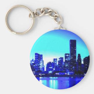 Blue New York City Basic Round Button Key Ring