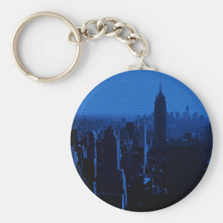 Blue New York City Night Basic Round Button Key Ring
