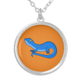 Blue Newt with Spots Round Pendant Necklace