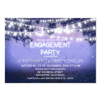 blue night & garden lights engagement party 13 cm x 18 cm invitation card