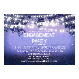 blue night garden lights engagement party personalized invitations