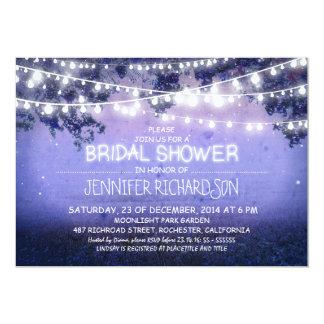 blue night lights bridal shower invitations