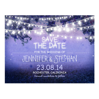 blue night lights romantic save the date postcard