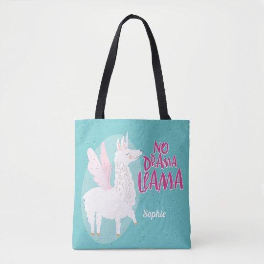 04d280f02b05 Blue No Drama Llama | Unicorn Llama Personalised Tote Bag