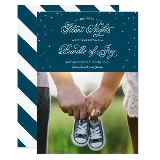 "Blue ""No More Silent Nights"" Holiday Photo Card 13 Cm X 18 Cm Invitation Card"