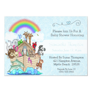Blue Noah's Ark Baby Shower Invitation