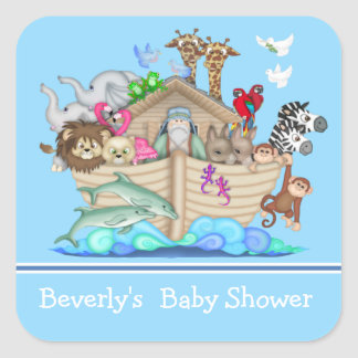 Blue Noah's Ark Baby Shower Sticker