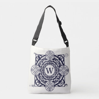 Blue Nouveau Compass Mandala Monogram Bag