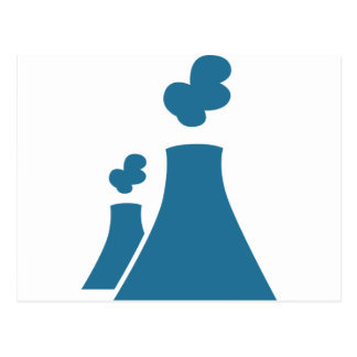Blue Nuclear Power Plant Icon Postcard