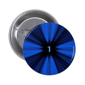 Blue number 1 6 cm round badge