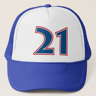 Blue Number 21 Trucker Hat