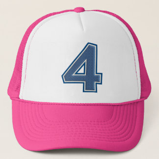 Blue Number 4 Trucker Hat