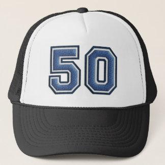 Blue Number 50 Trucker Hat