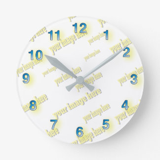 Blue Numbers Gray Hands Customize Create Your Own Wall Clocks