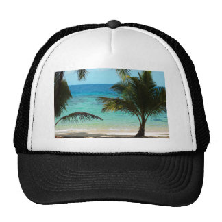 Blue ocean and palm trees mesh hats