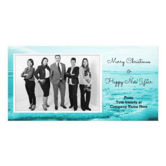 Blue Ocean Beach Coastal Christmas Corporate Card