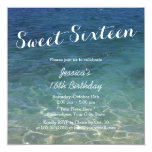 Blue Ocean Beach Theme Sweet Sixteen 13 Cm X 13 Cm Square Invitation Card