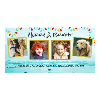Blue Ocean Christmas Family Photo Collage Cards