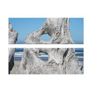 Blue Ocean Coastal art prints Driftwood waves Canvas Print