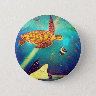 Blue Ocean Colorful Sea Turtle Painting 6 Cm Round Badge