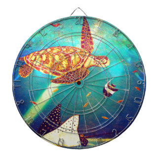 Blue Ocean Colorful Sea Turtle Painting Dartboard