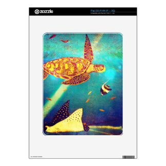 Blue Ocean Colorful Sea Turtle Painting Decals For The iPad